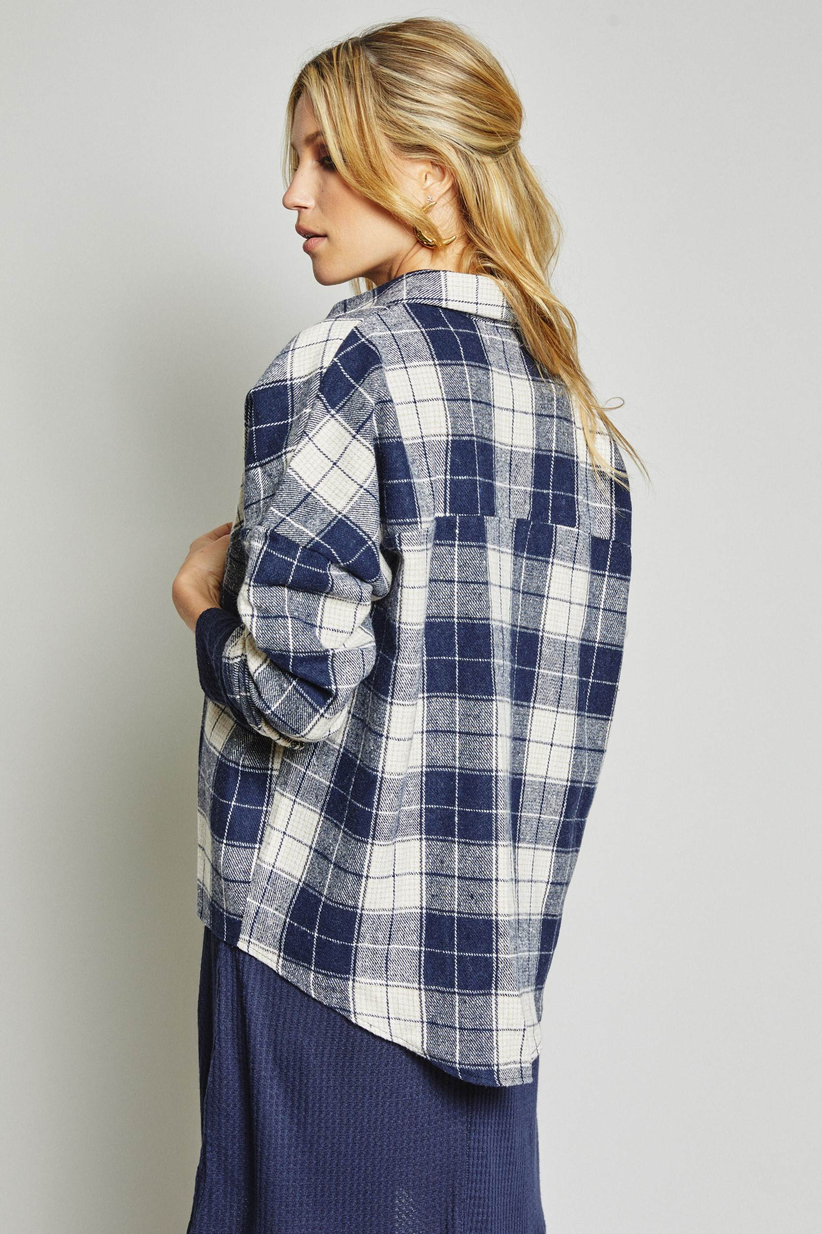 Photo of the back of the Hitchhiker flannel by Sage the Label.