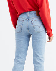 Close up photo of the Dibs Wedgie straight leg jeans in light wash by Levi's.