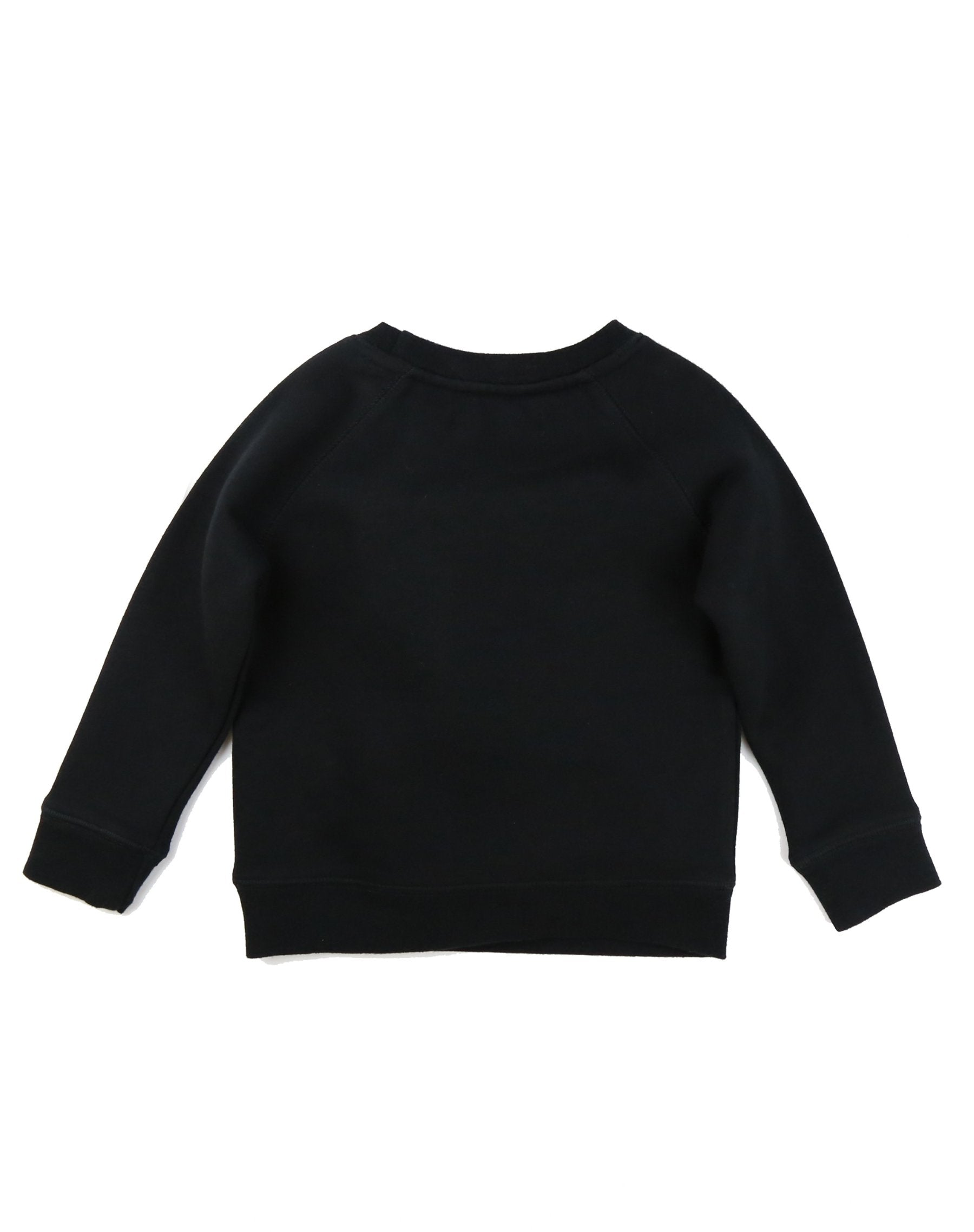 Photo of the back of the Redhead Little Babes classic crew neck sweatshirt in black by Brunette the Label.