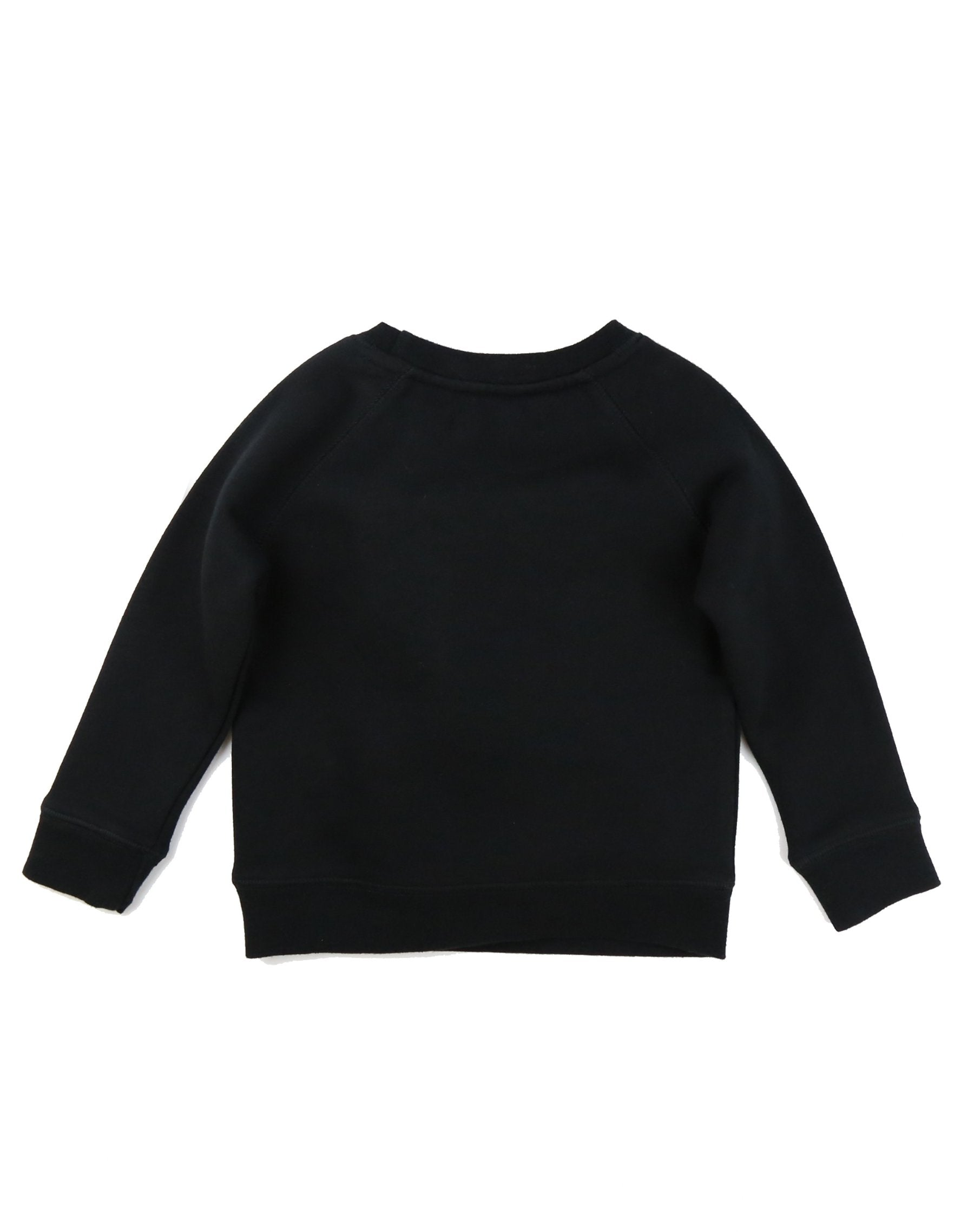 Photo of the back of the Brunette Little Babes classic crew neck sweatshirt in black by Brunette the Label.