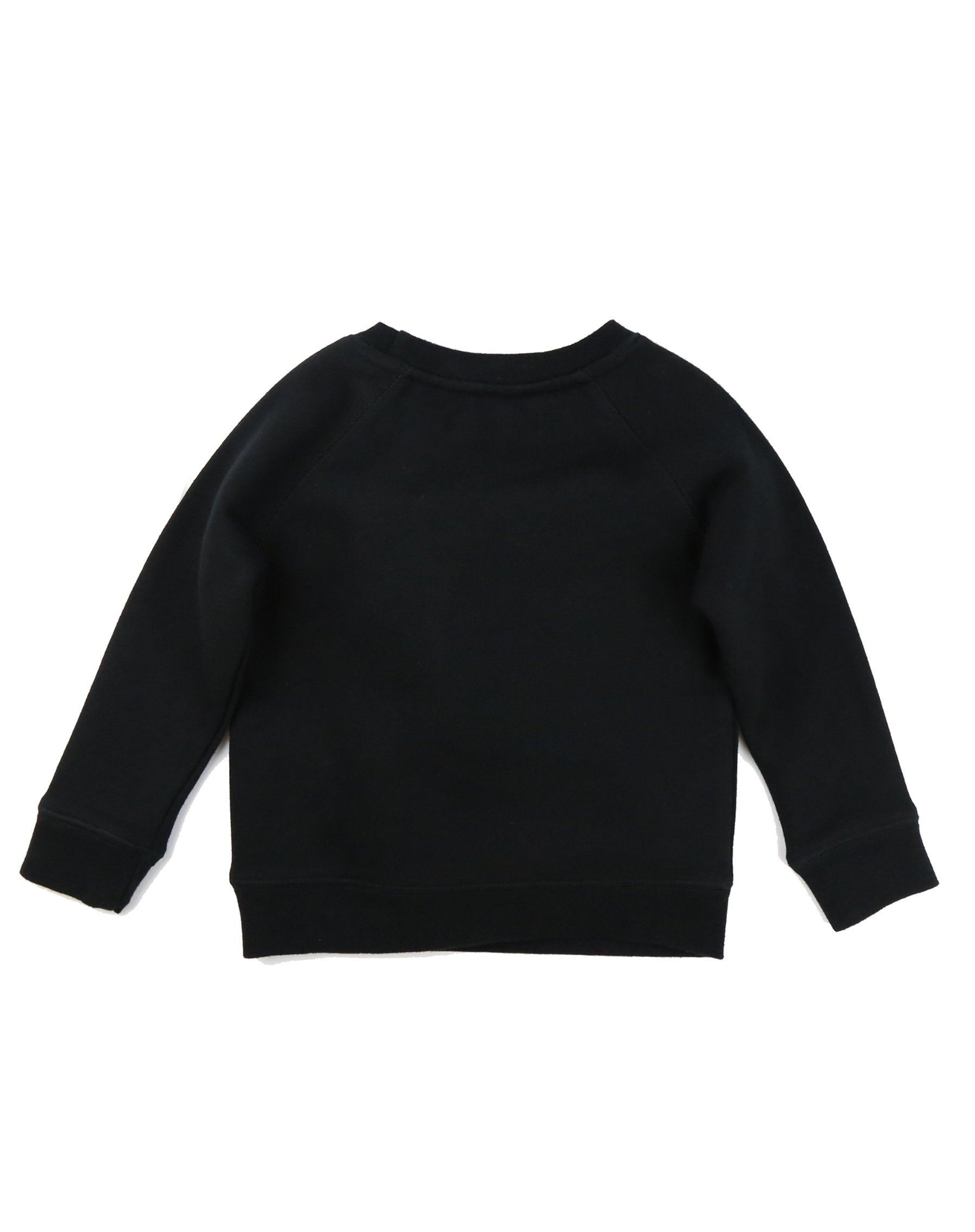 Photo of the back of the Blonde Little Babes classic crew neck sweatshirt in black by Brunette the Label.