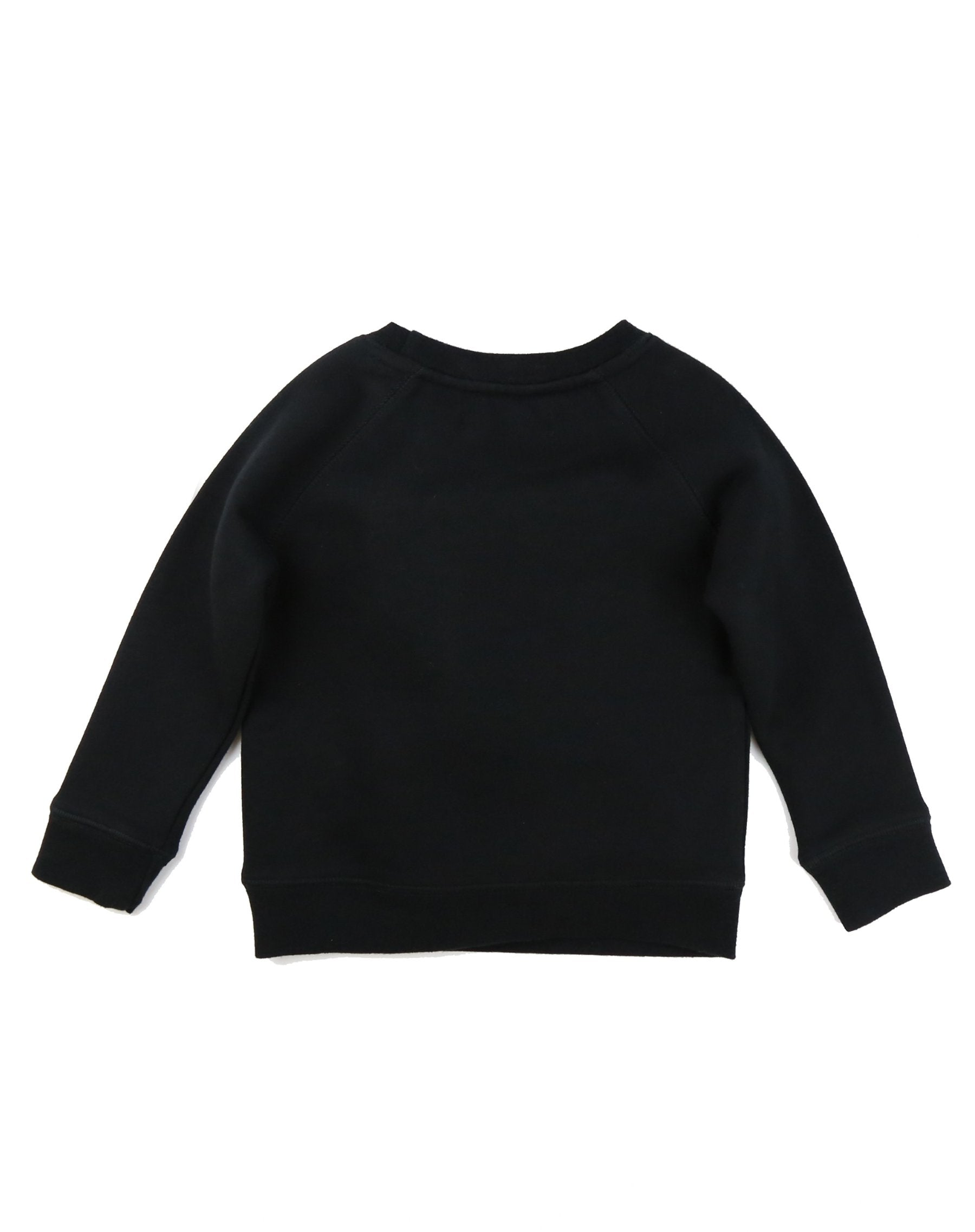 Photo of the back of the We Are All Babes Little Babes classic crew neck sweatshirt in black by Brunette the Label.