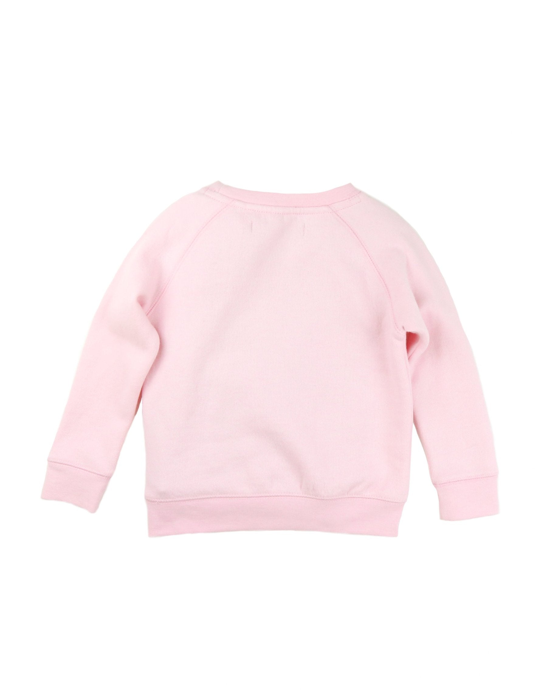 Photo of the back of the Boss Babes classic crew neck sweatshirt in pretty pink by Brunette the Label.