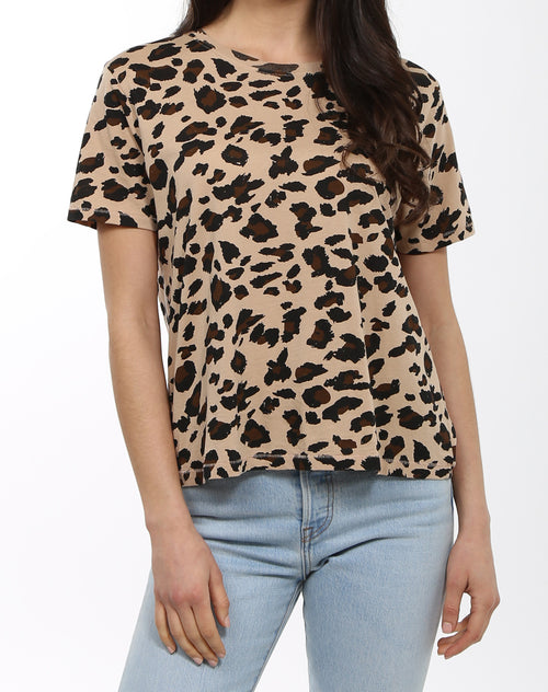 Photo 2 of the leopard crew neck tee by Brunette the Label.