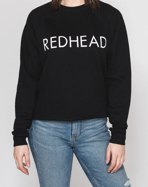 Photo of Redhead Raw Hem classic crew in black by Brunette the Label.