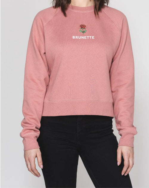 "The ""BRUNETTE"" Rosie Embroidered Crew 