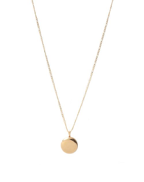 Image of the Round Locket in gold by Lisbeth.