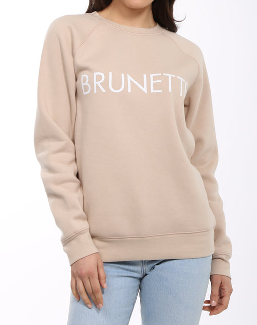 Photo 2 of the Brunette classic crew neck sweatshirt in toasted almond by Brunette the Label.