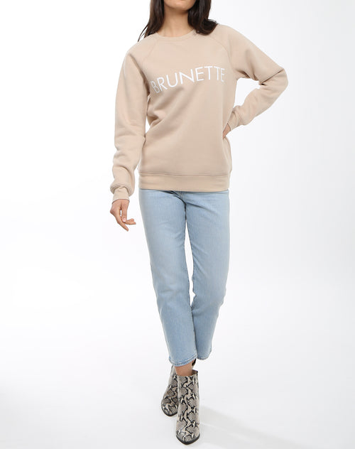 Full body photo of the Brunette classic crew neck sweatshirt in toasted almond by Brunette the Label.
