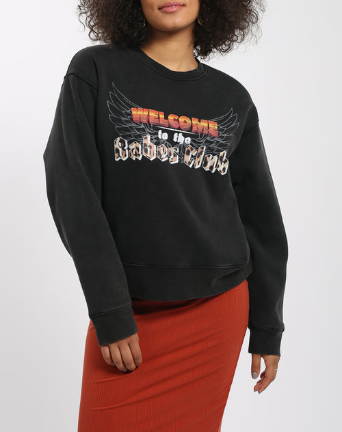 Photo 3 of the Welcome to the Babes Club step sister crew neck sweatshirt from The 1981 Collection by Brunette the Label.