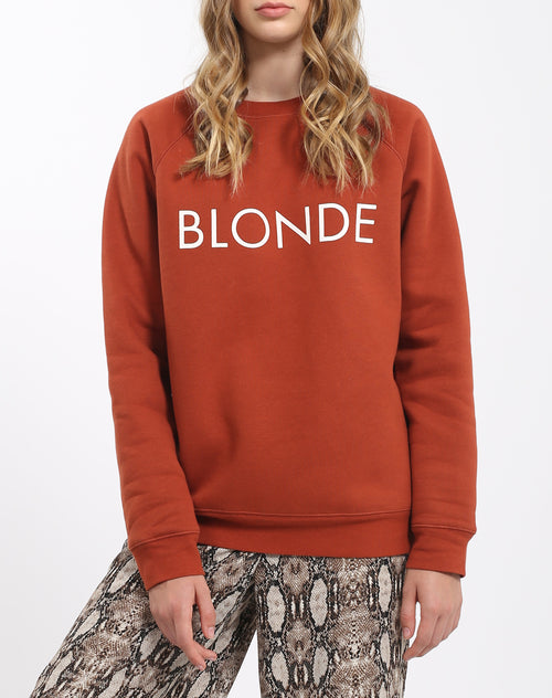 Photo of the Blonde classic crew neck sweatshirt in rust by Brunette the Label.
