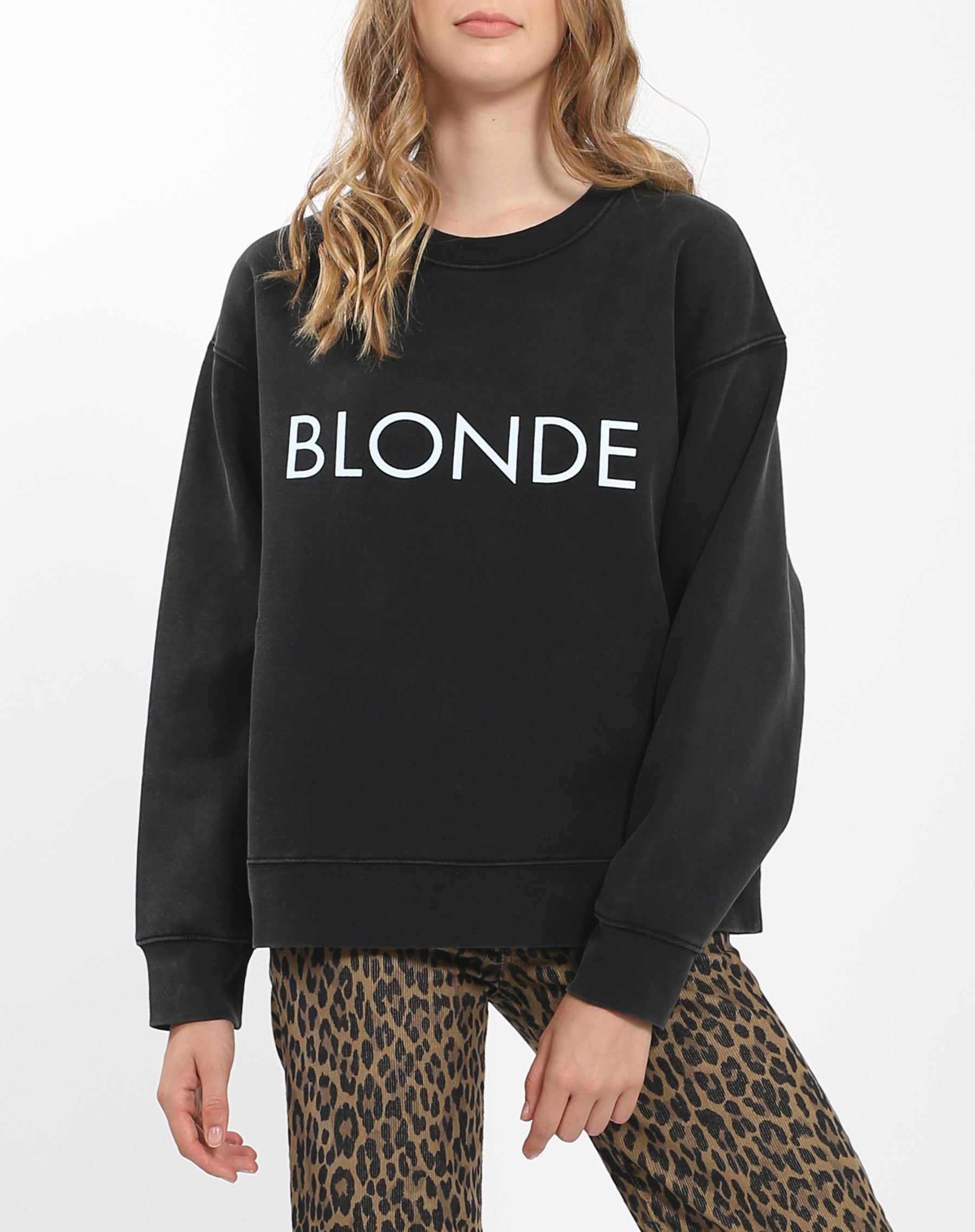 Photo of the back of the Blonde Step Sister crew neck sweatshirt in acid wash by Brunette the Label.