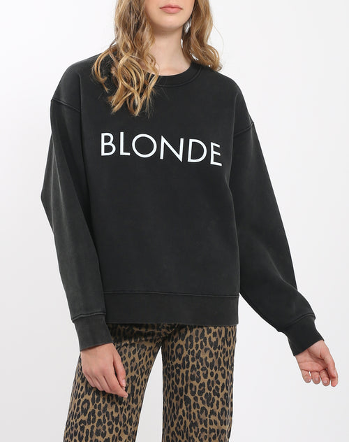Photo of the Blonde Step Sister crew neck sweatshirt in acid wash by Brunette the Label.