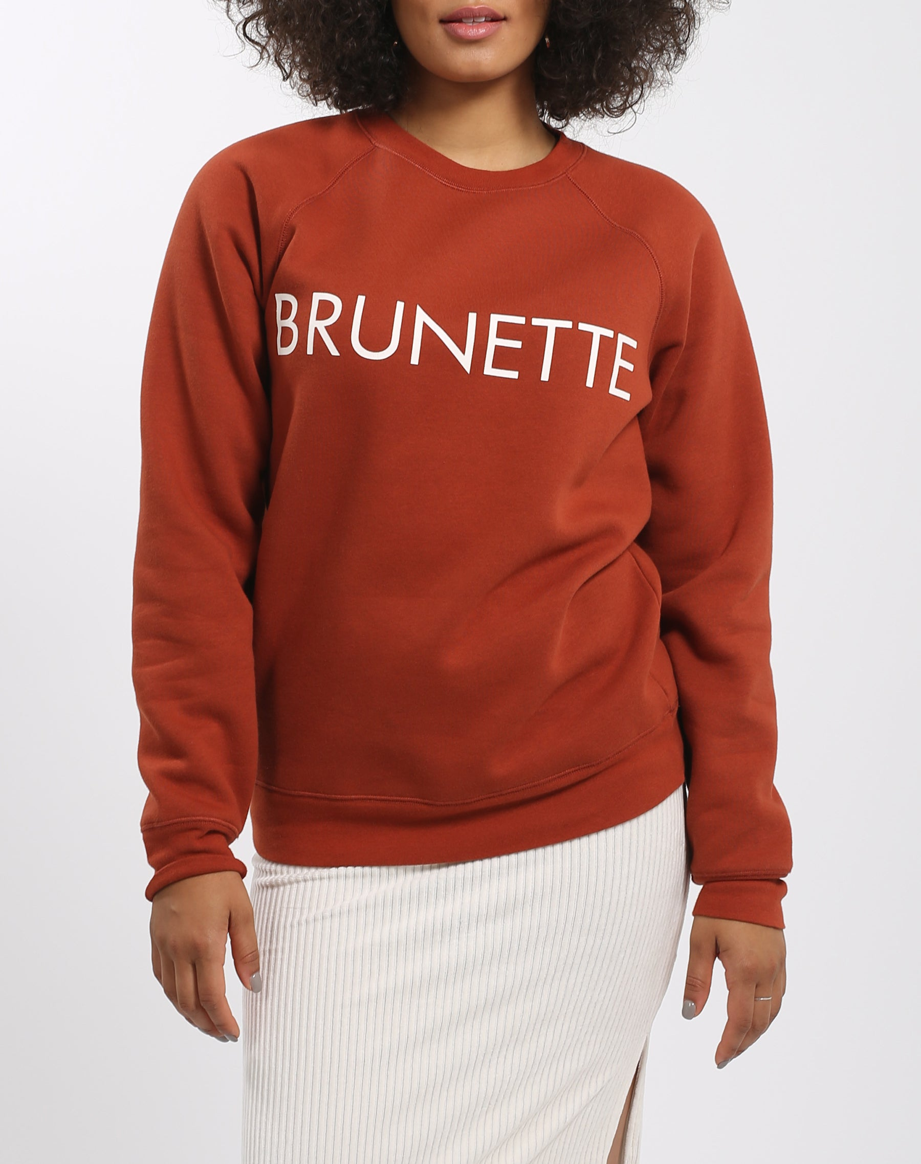 Photo 2 of the Brunette classic crew neck sweatshirt in rust by Brunette the Label.