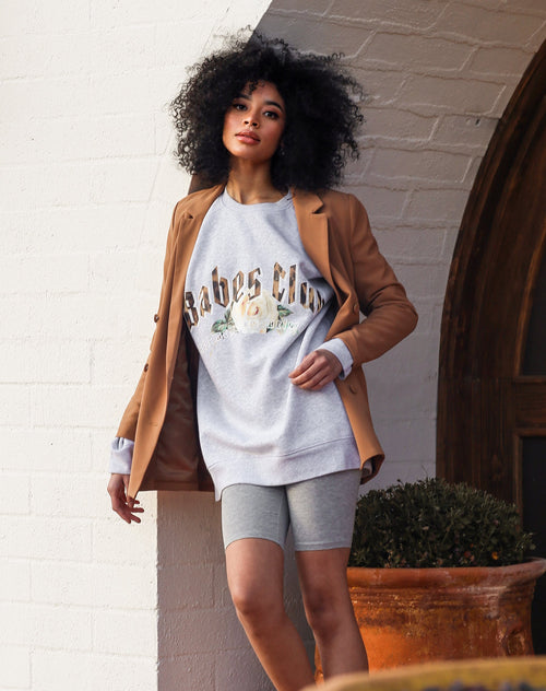 this is a photo of the babes club big sister crew neck sweatshirt in pebble grey from the 1981 collection