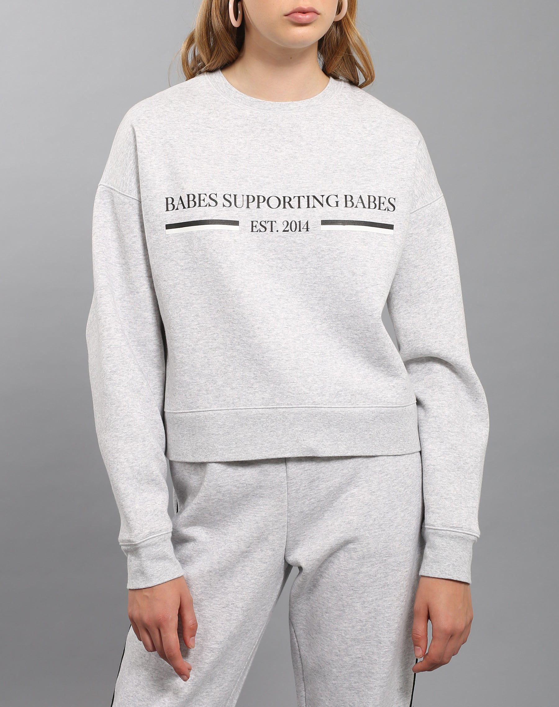 The Babes Supporting Babes little sister crew neck sweatshirt in pebble grey by Brunette the Label.