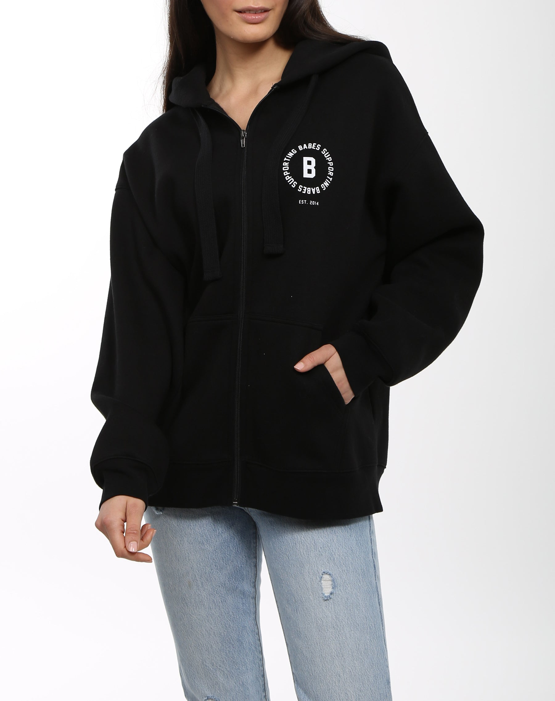 Photo 4 of the Babes Supporting Babes big sister zip up hoodie in black by Brunette the Label.