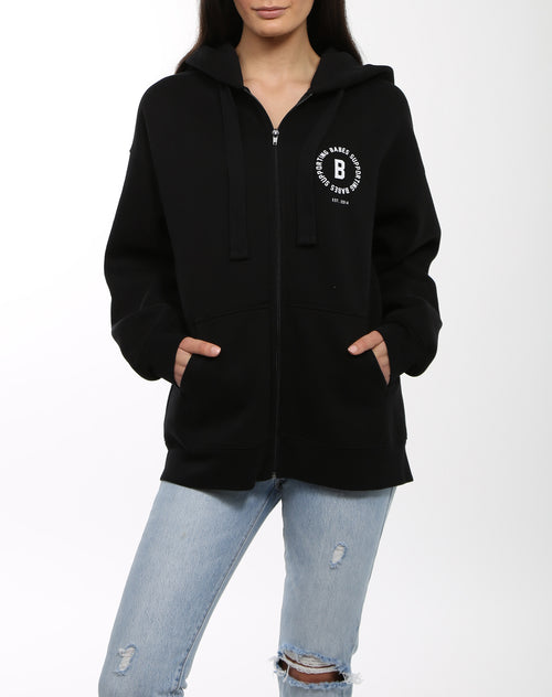 Photo 3 of the Babes Supporting Babes big sister zip up hoodie in black by Brunette the Label.