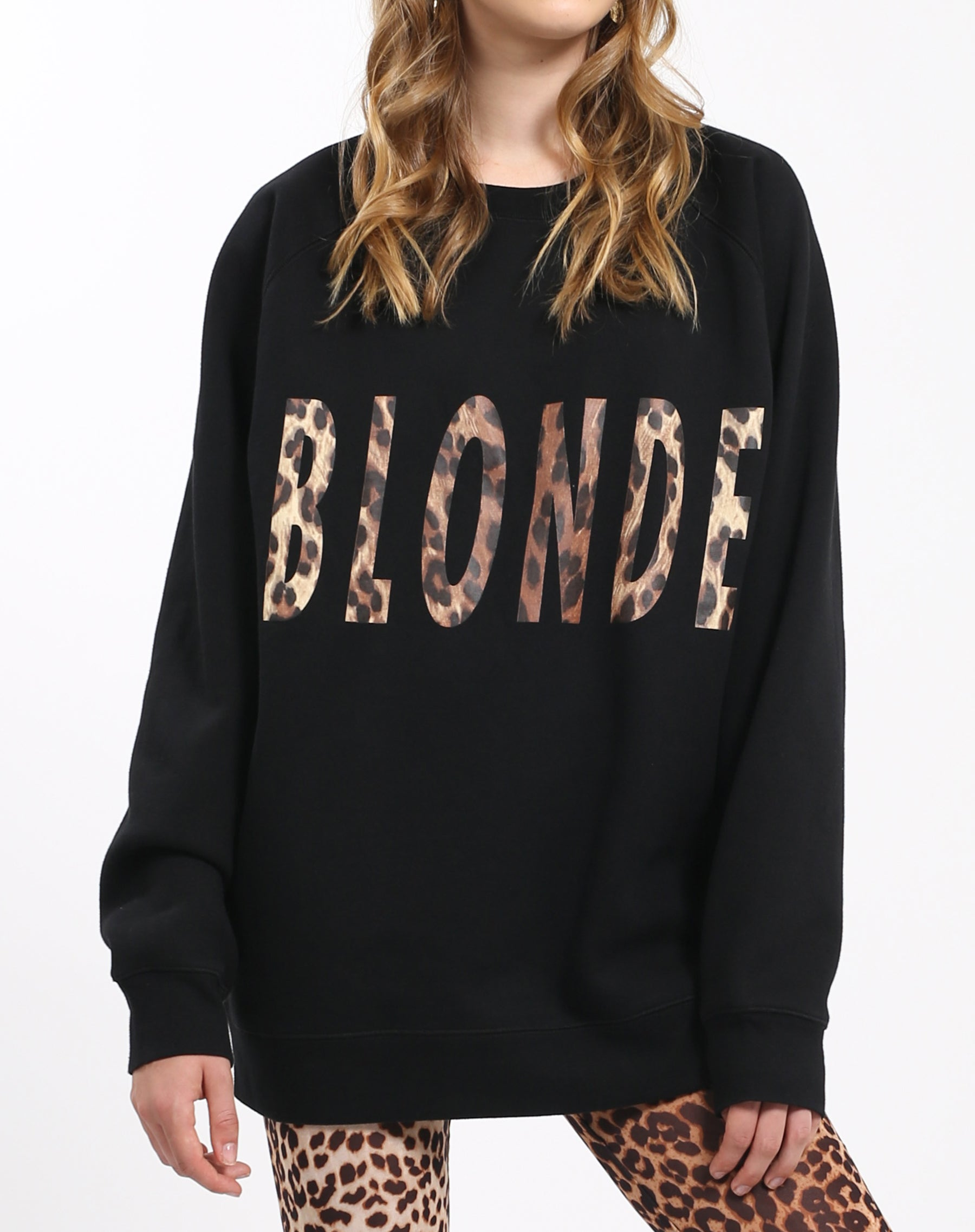 Photo 3 of the Blonde big sister crew neck sweatshirt in leopard by Brunette the Label.