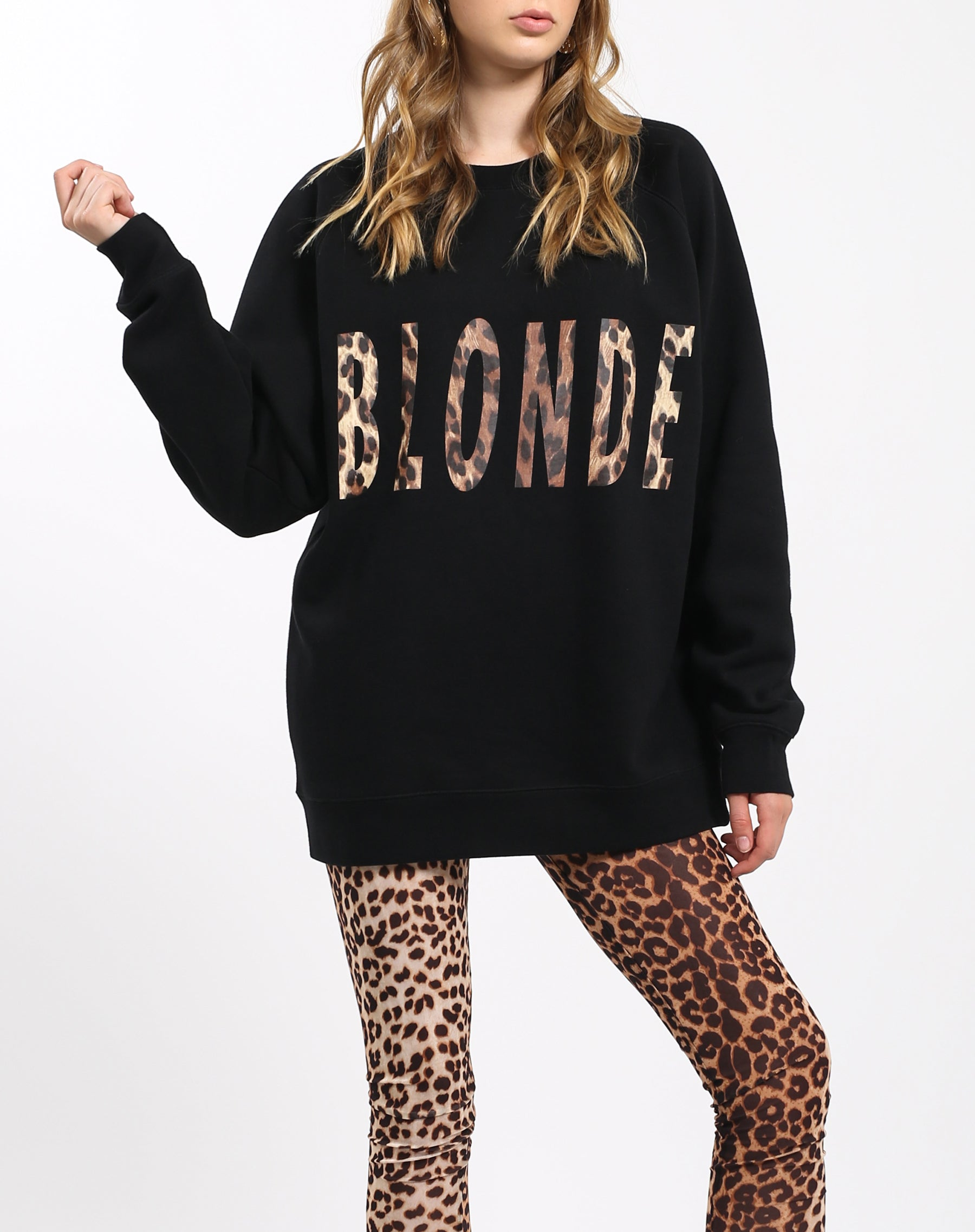 Photo 4 of the Blonde big sister crew neck sweatshirt in leopard by Brunette the Label.