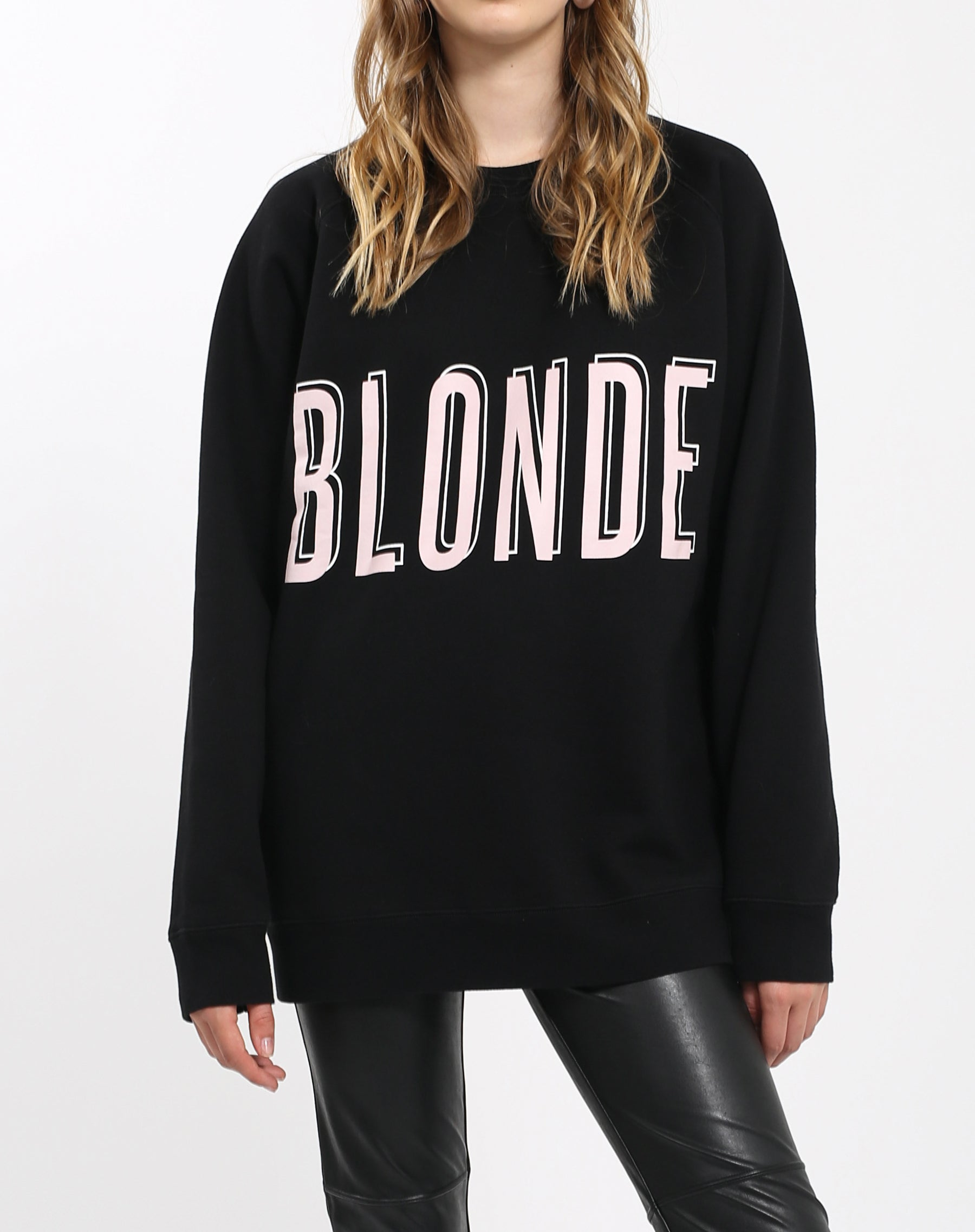 Photo of the Blonde big sister crew neck sweatshirt in pink by Brunette the Label.