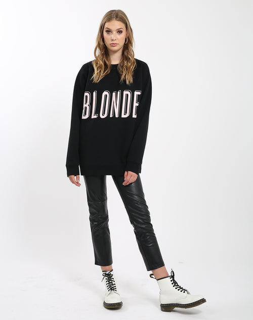 Photo 2 of the Blonde big sister crew neck sweatshirt in pink by Brunette the Label.