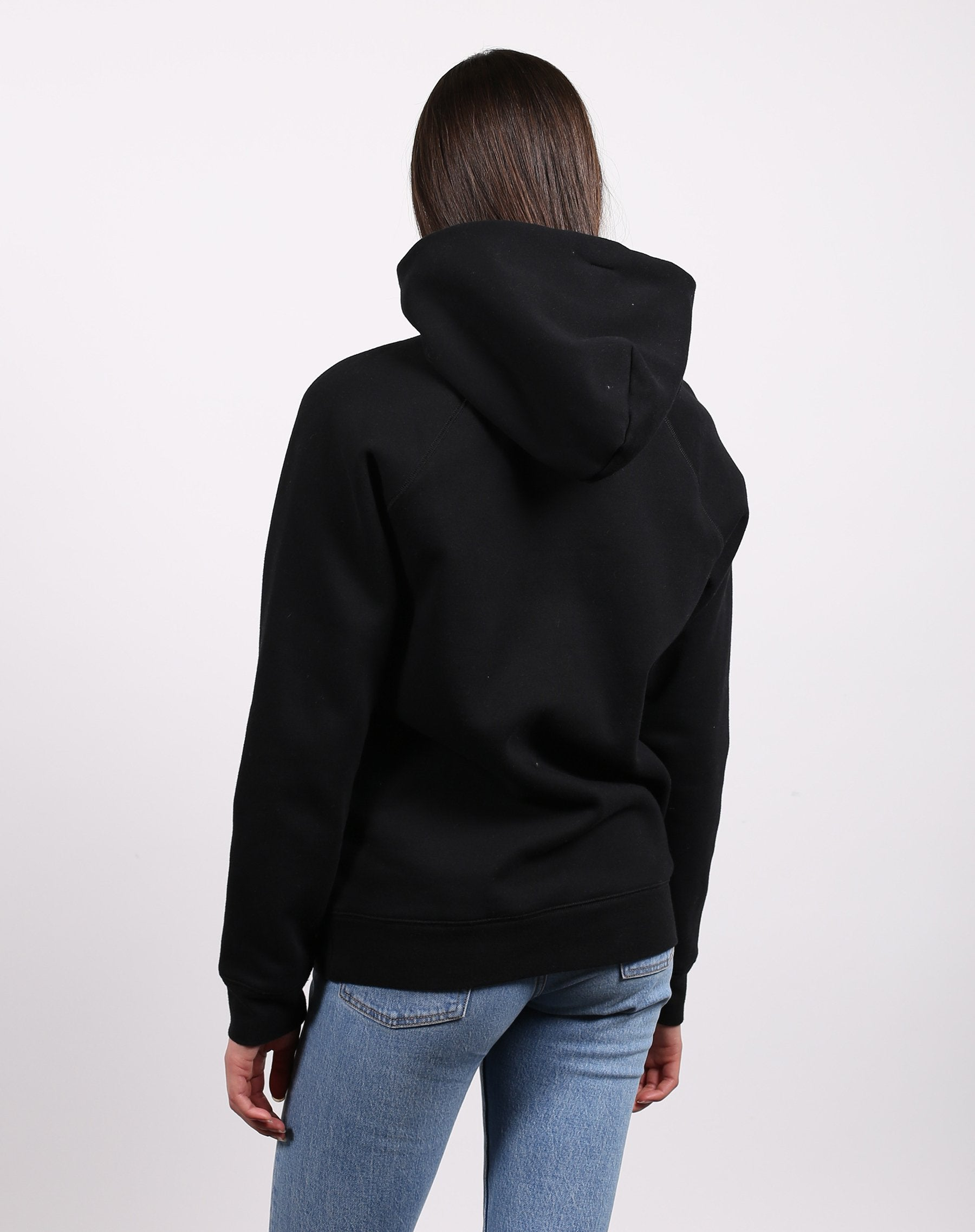 This is a photo of the back of the Blonde classic hoodie in black by Brunette the Label