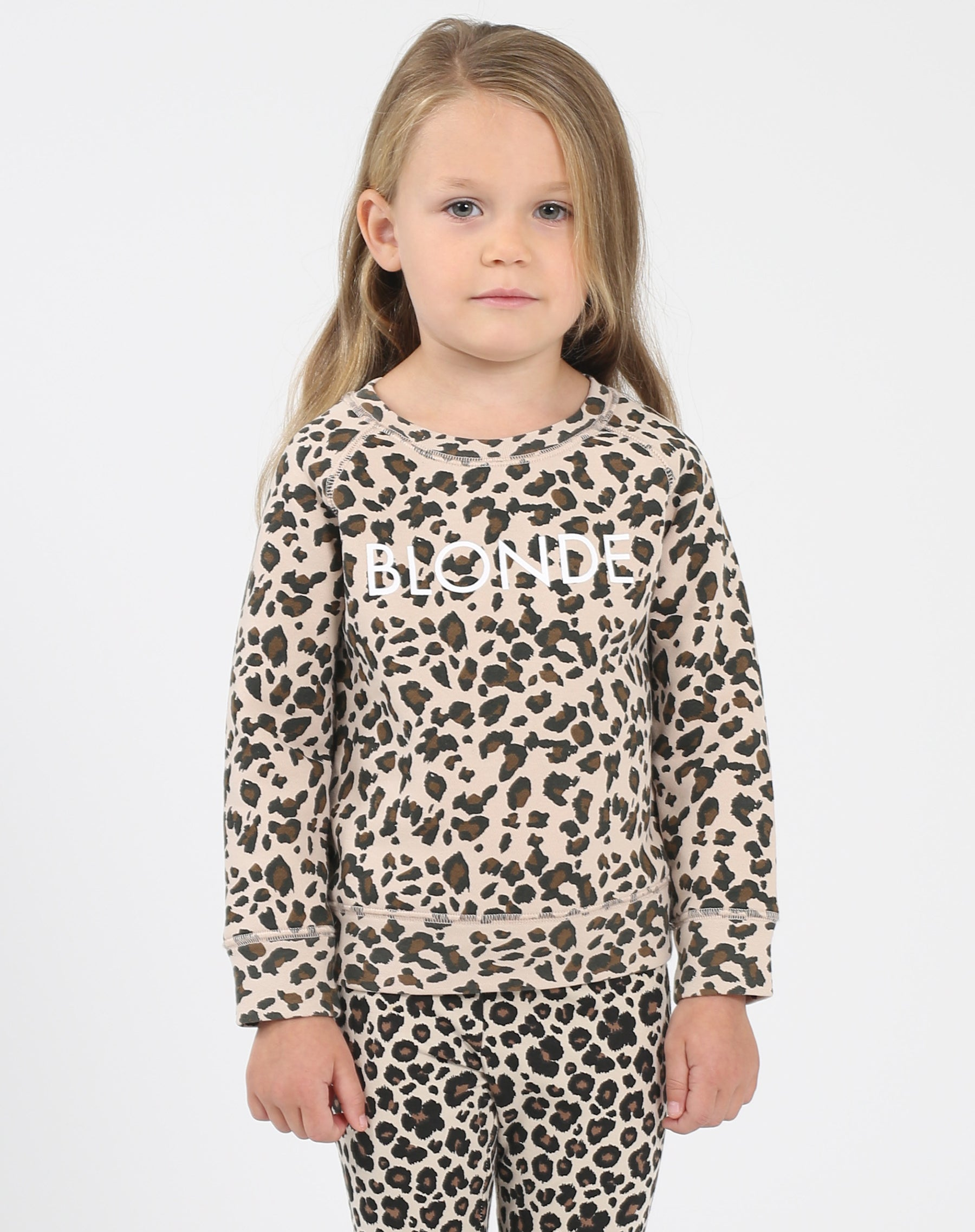 Photo of the Blonde Little Babes classic crew neck sweatshirt in leopard by Brunette the Label.