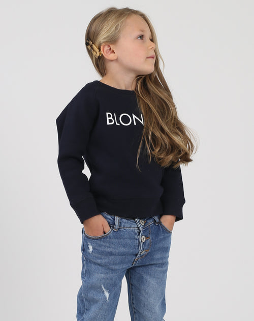 Photo of the Blonde Little Babes classic crew neck sweatshirt in navy by Brunette the Label.