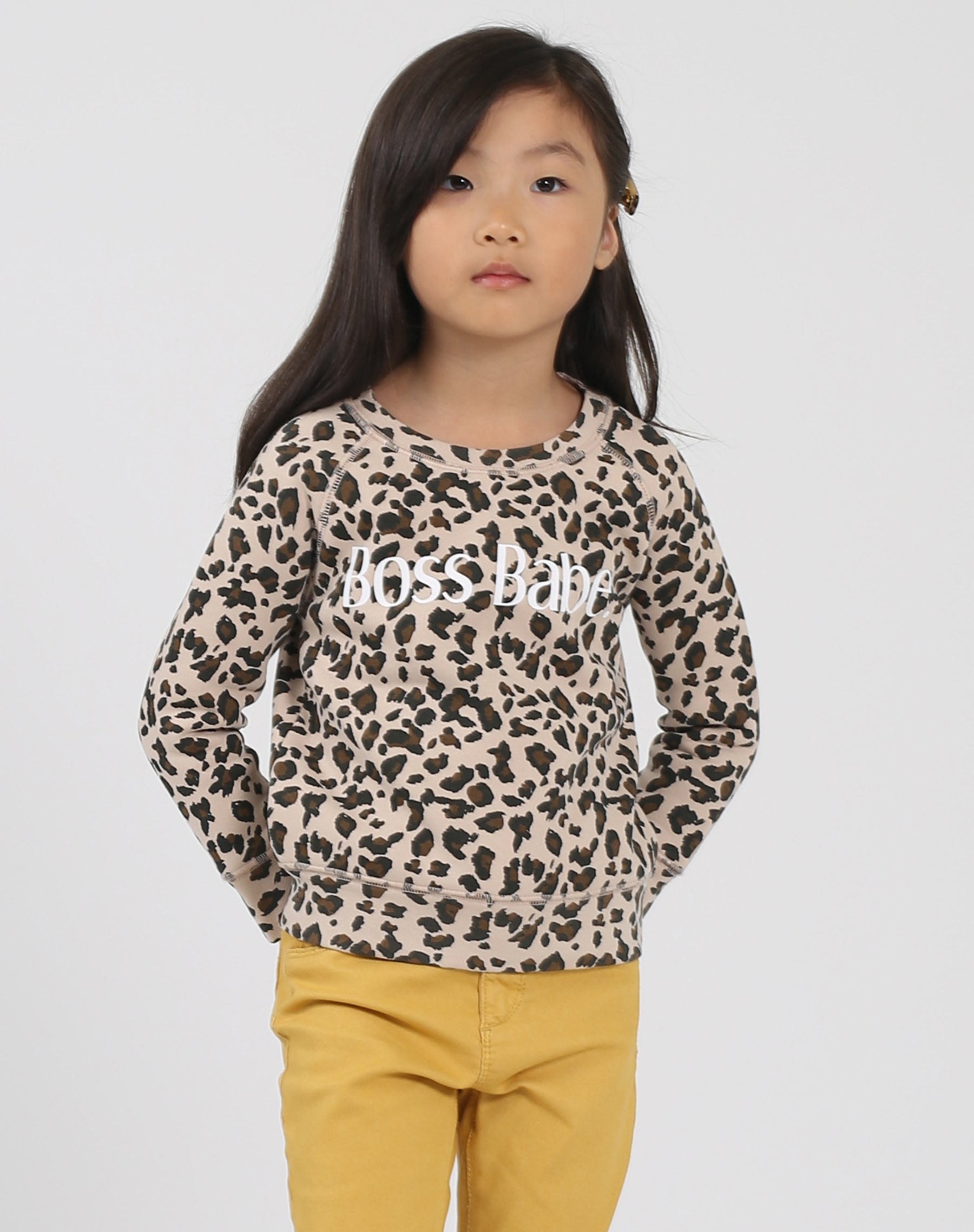 Photo of the Boss Babe Little Babes classic crew neck sweatshirt in leopard by Brunette the Label.