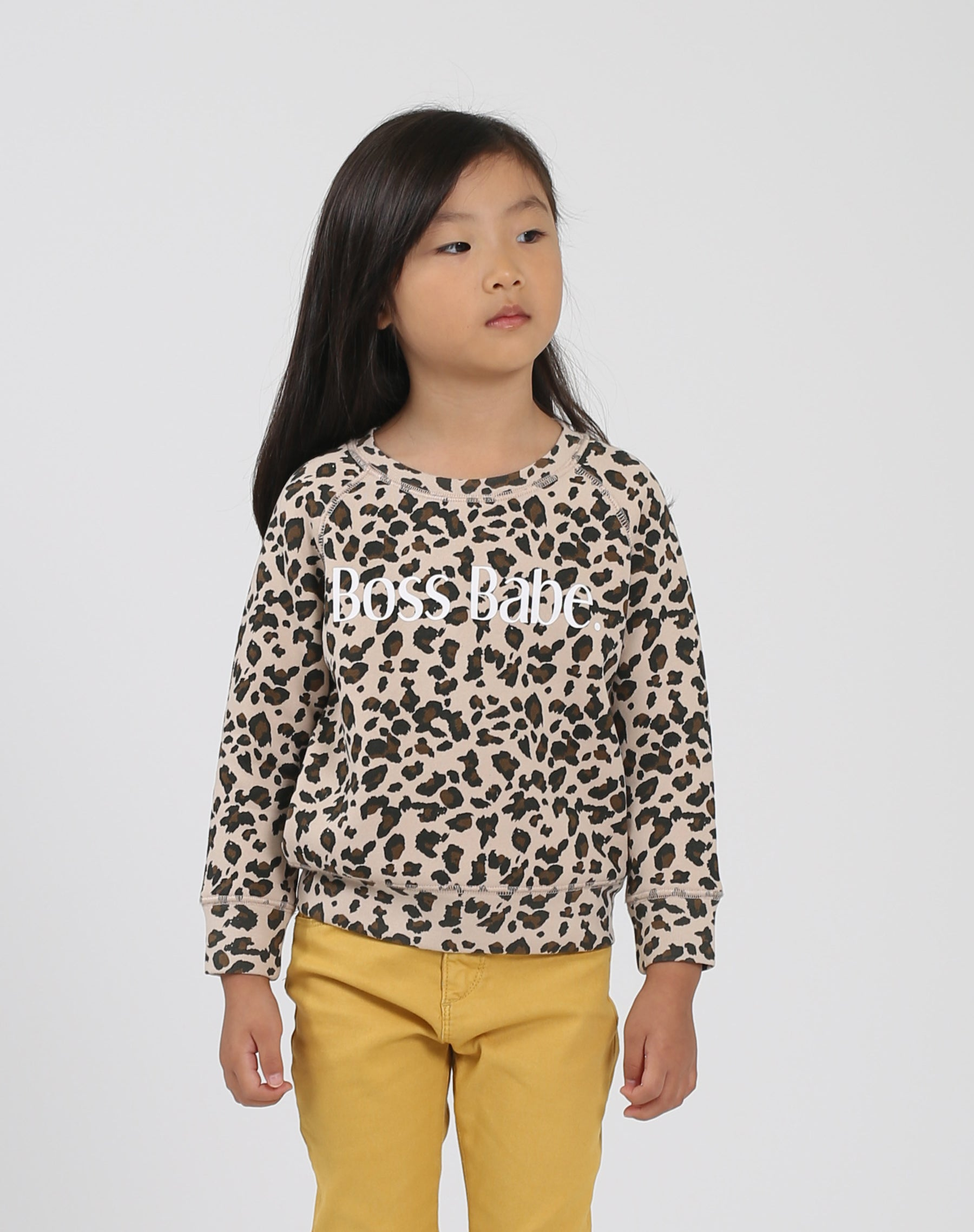 Photo 2 of the Boss Babe Little Babes classic crew neck sweatshirt in leopard by Brunette the Label.