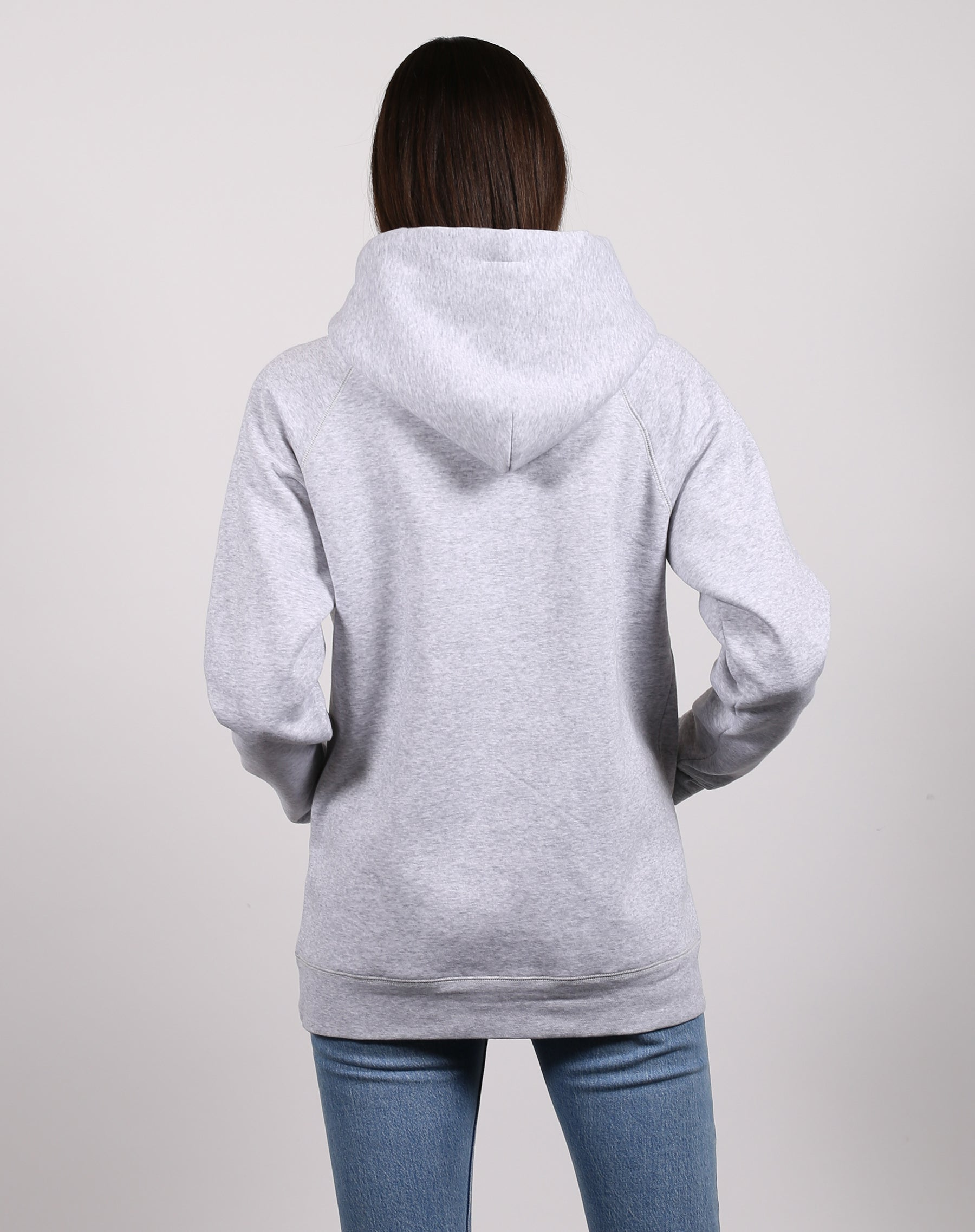 This is a photo of the front of the Brunette classic hoodie in pebble grey by Brunette the Label