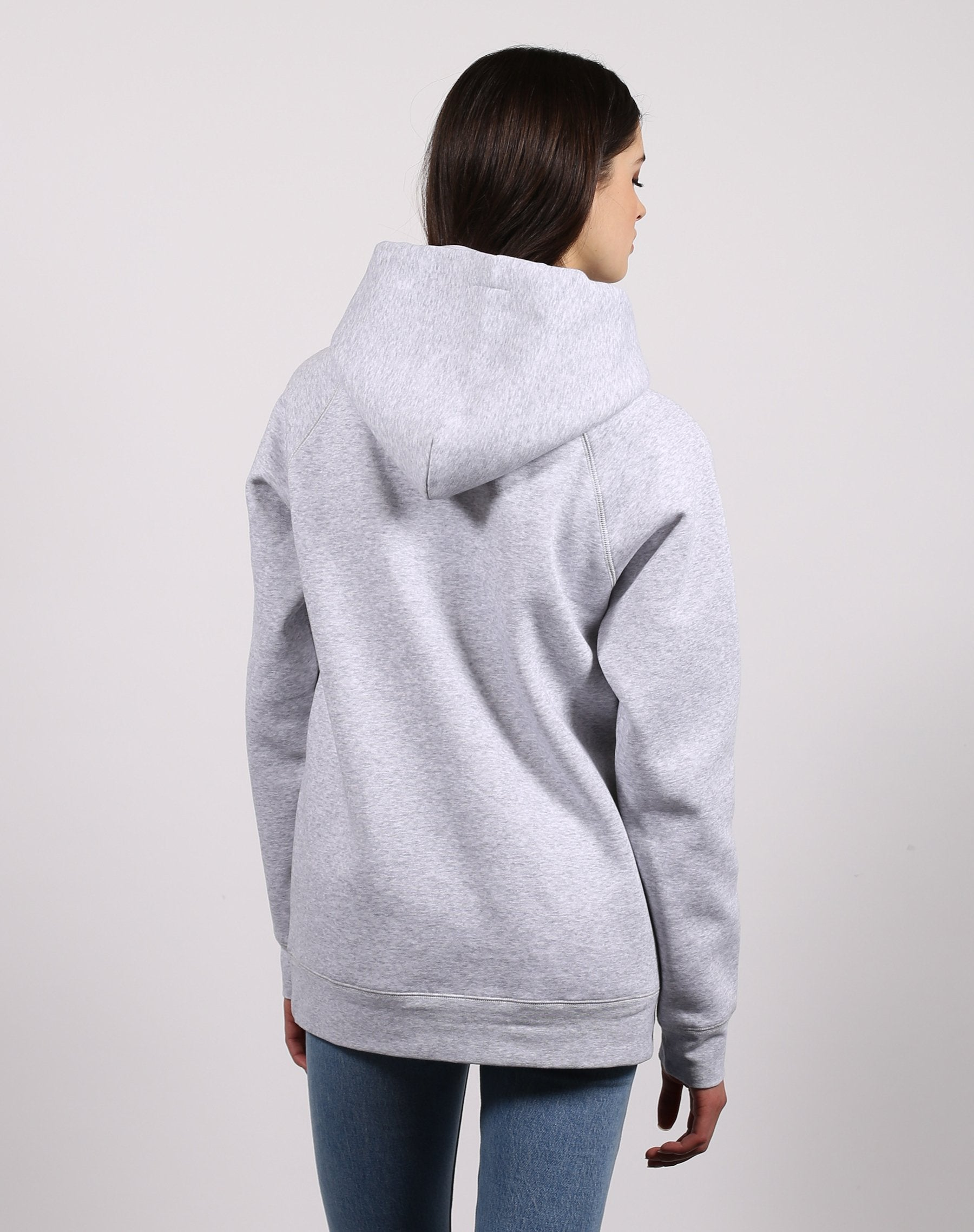 This is a photo of the back of the Blonde classic hoodie in pebble grey by Brunette the Label