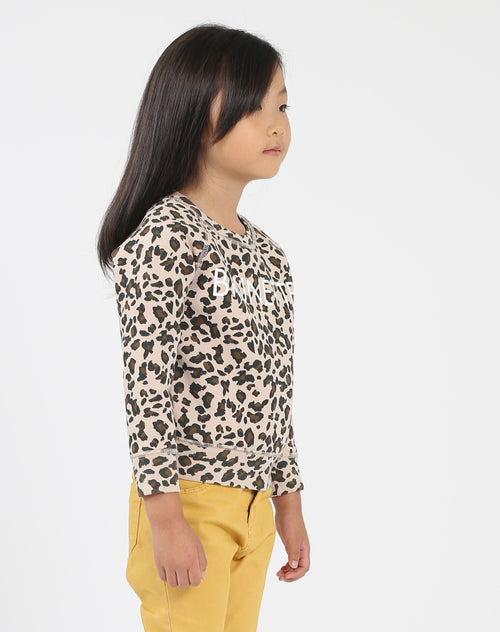 Photo of the side of the Brunette Little Babes classic crew neck sweatshirt in leopard by Brunette the Label.