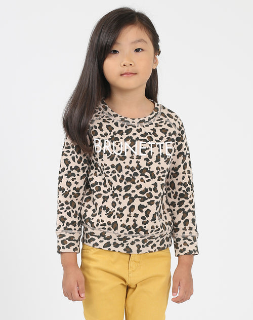 Photo of the Brunette Little Babes classic crew neck sweatshirt in leopard by Brunette the Label.