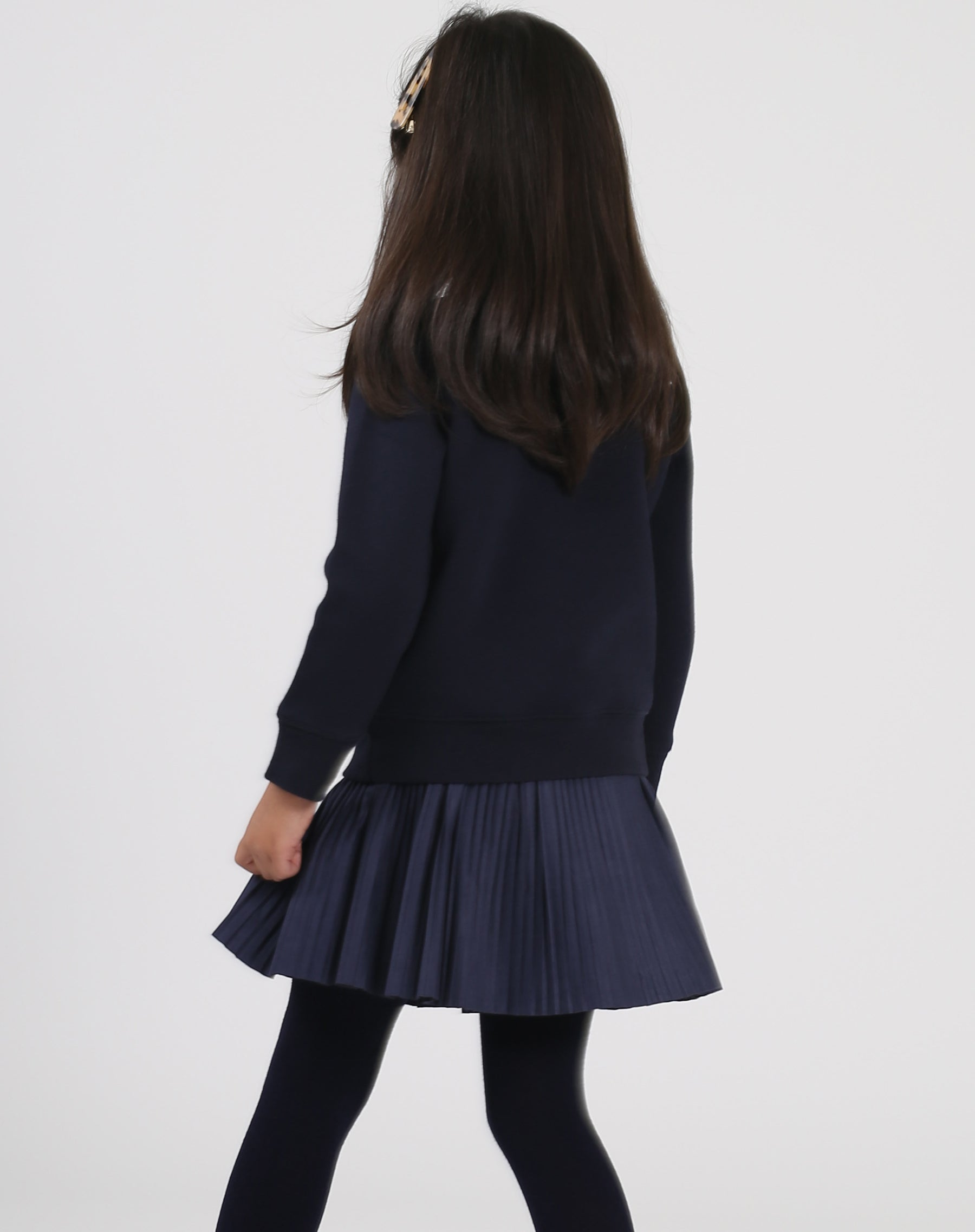 Photo of the back of the Brunette Little Babes classic crew neck sweatshirt in navy by Brunette the Label.