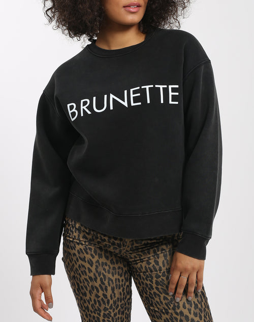 Photo 2 of the Brunette Step Sister crew neck sweatshirt in acid wash by Brunette the Label.