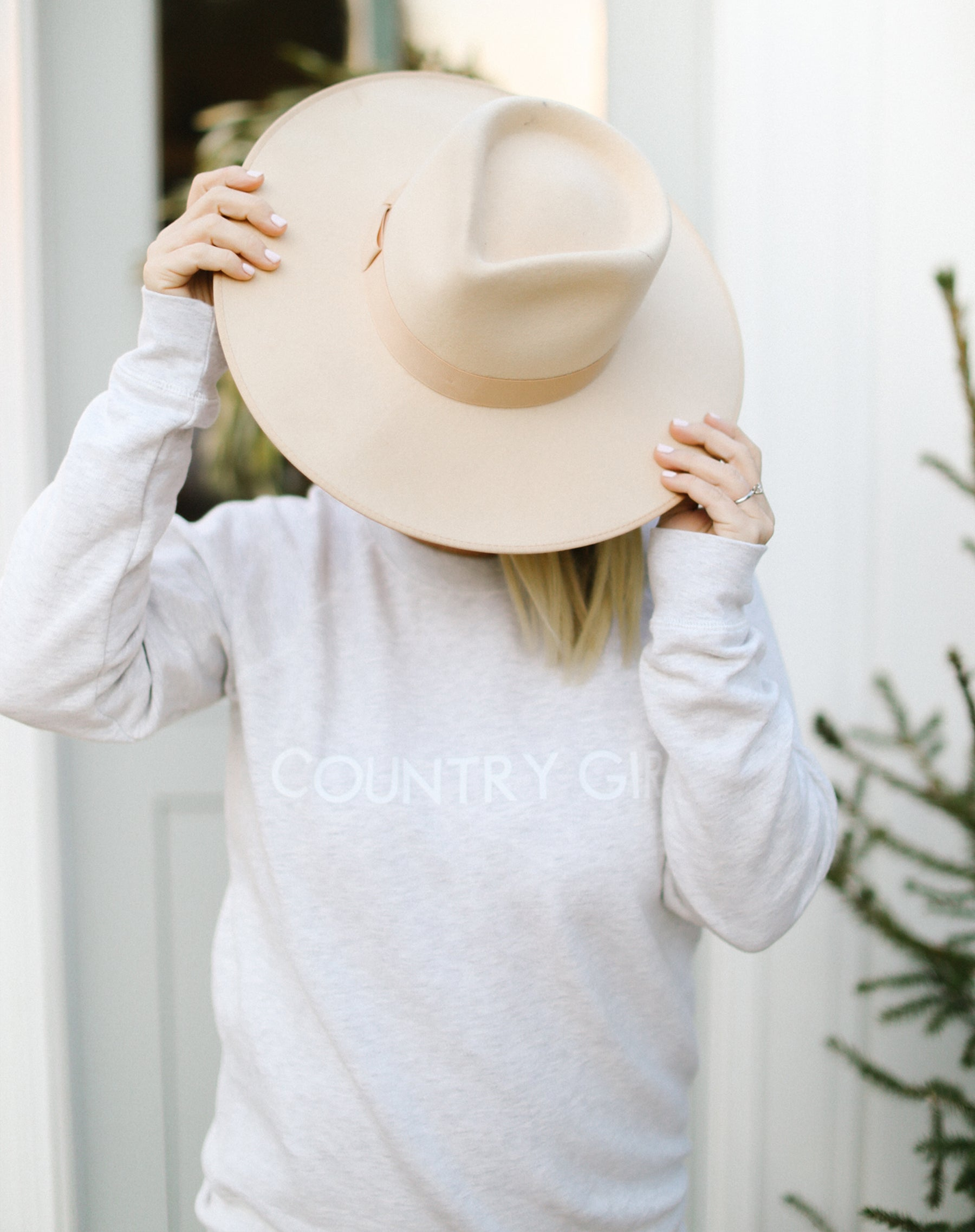 "The ""COUNTRY GIRL"" Classic Crew Neck Sweatshirt in Oatmeal 