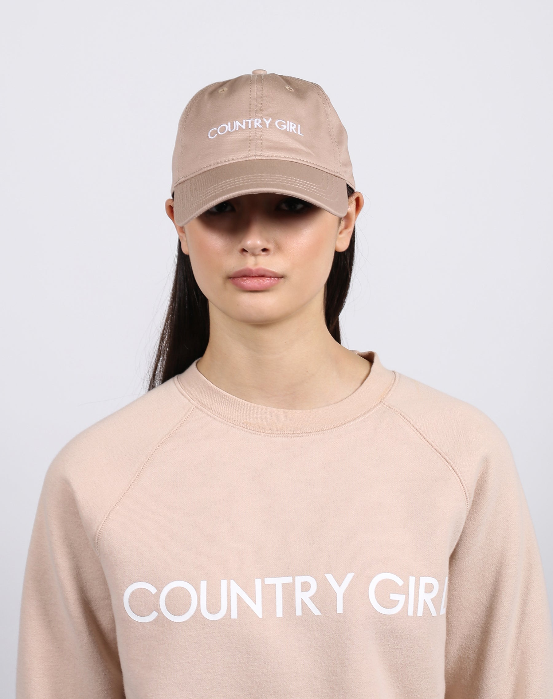 "The ""COUNTRY GIRL"" Baseball Cap in Toasted Almond 
