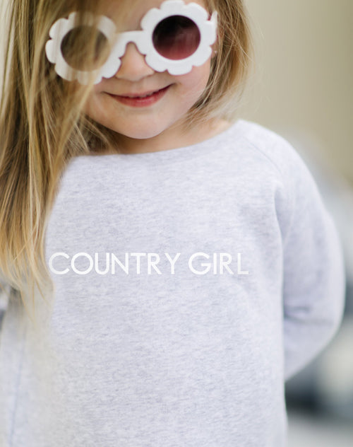 The Country Girl Little Babes classic crew neck sweatshirt in pebble grey from the Monika Hibbs Collection by Brunette the Label.