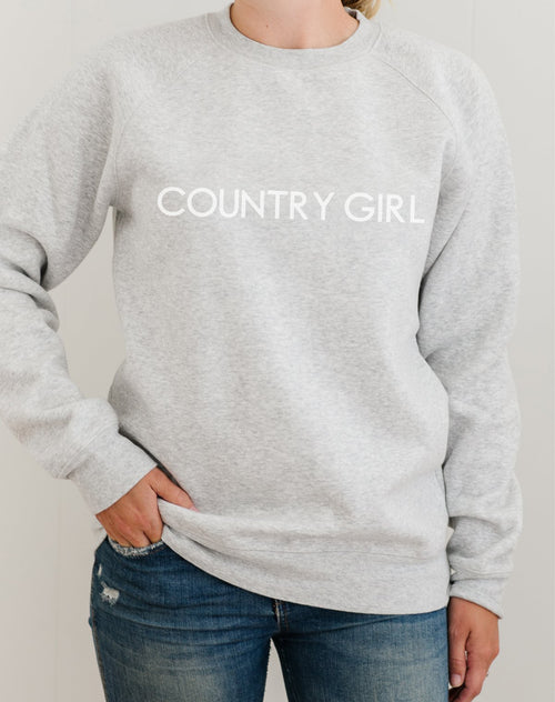 Photo 2 of the Country Girl classic crew neck sweatshirt in pebble grey from the Monika Hibbs Collection by Brunette the Label.