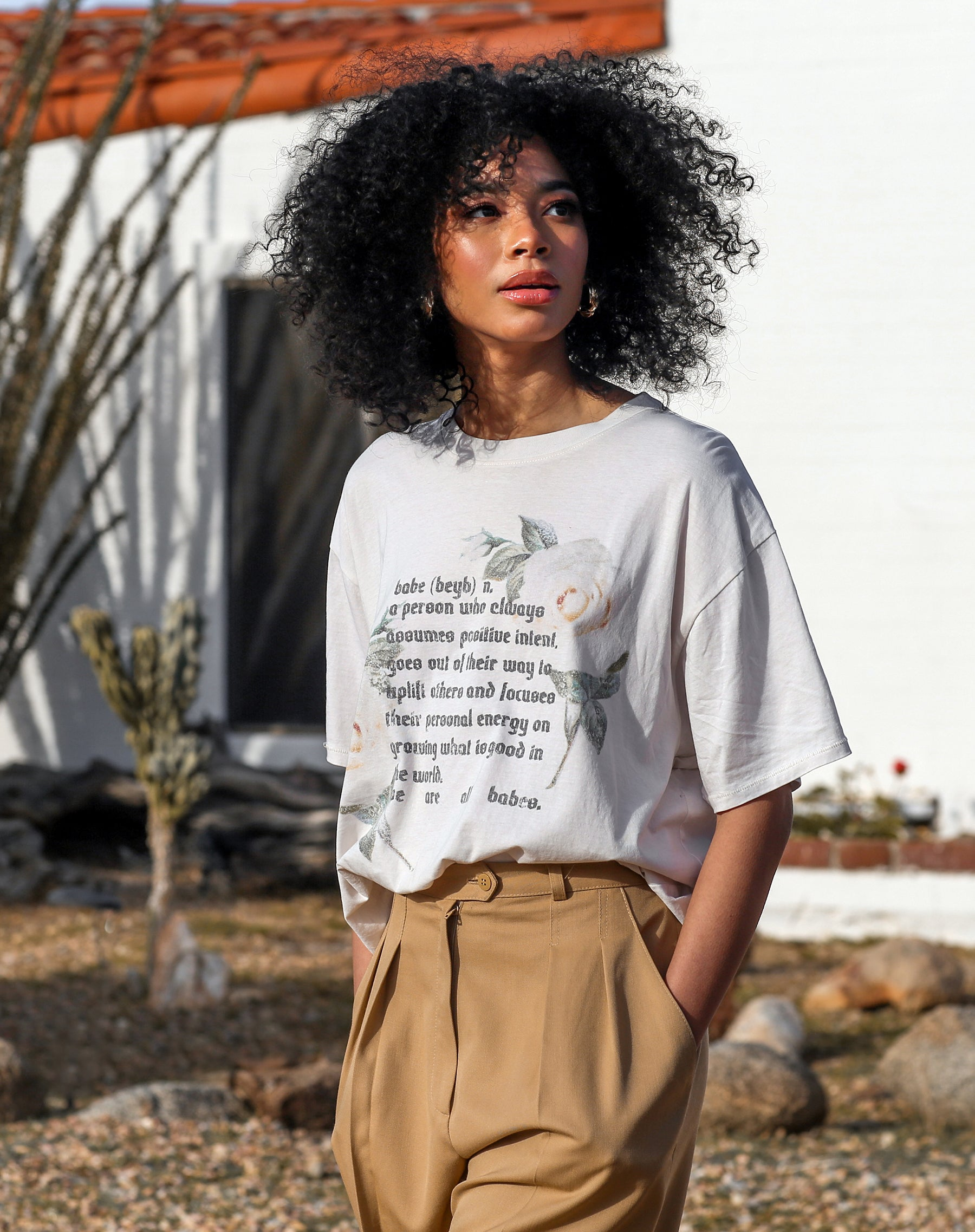 This is a photo of a model wearing the definition of a babe box crew neck tee by Brunette the Label.