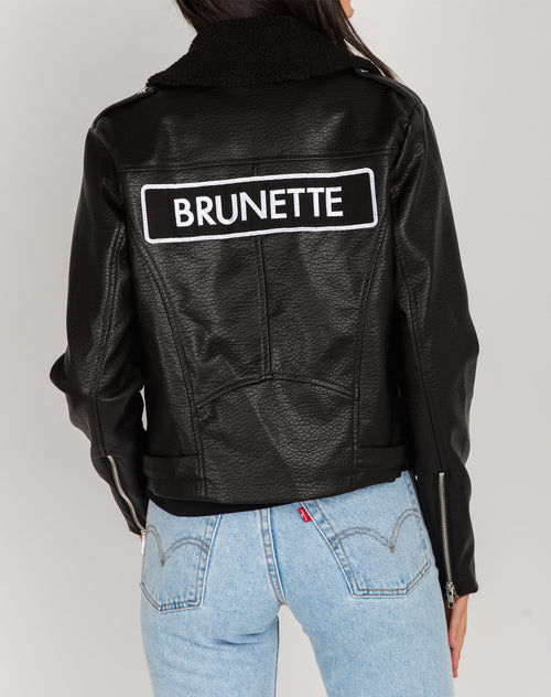 Photo of the Brunette Florence vegan leather moto jacket by Brunette the Label.