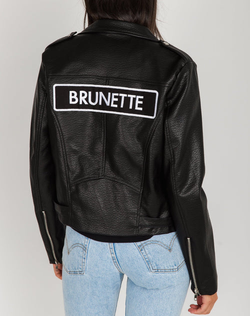 Photo of the Florence Brunette vegan leather moto jacket in black by Brunette the label.