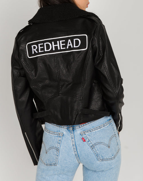 Photo of the Redhead Florence vegan leather moto jacket with shearling by Brunette the Label.