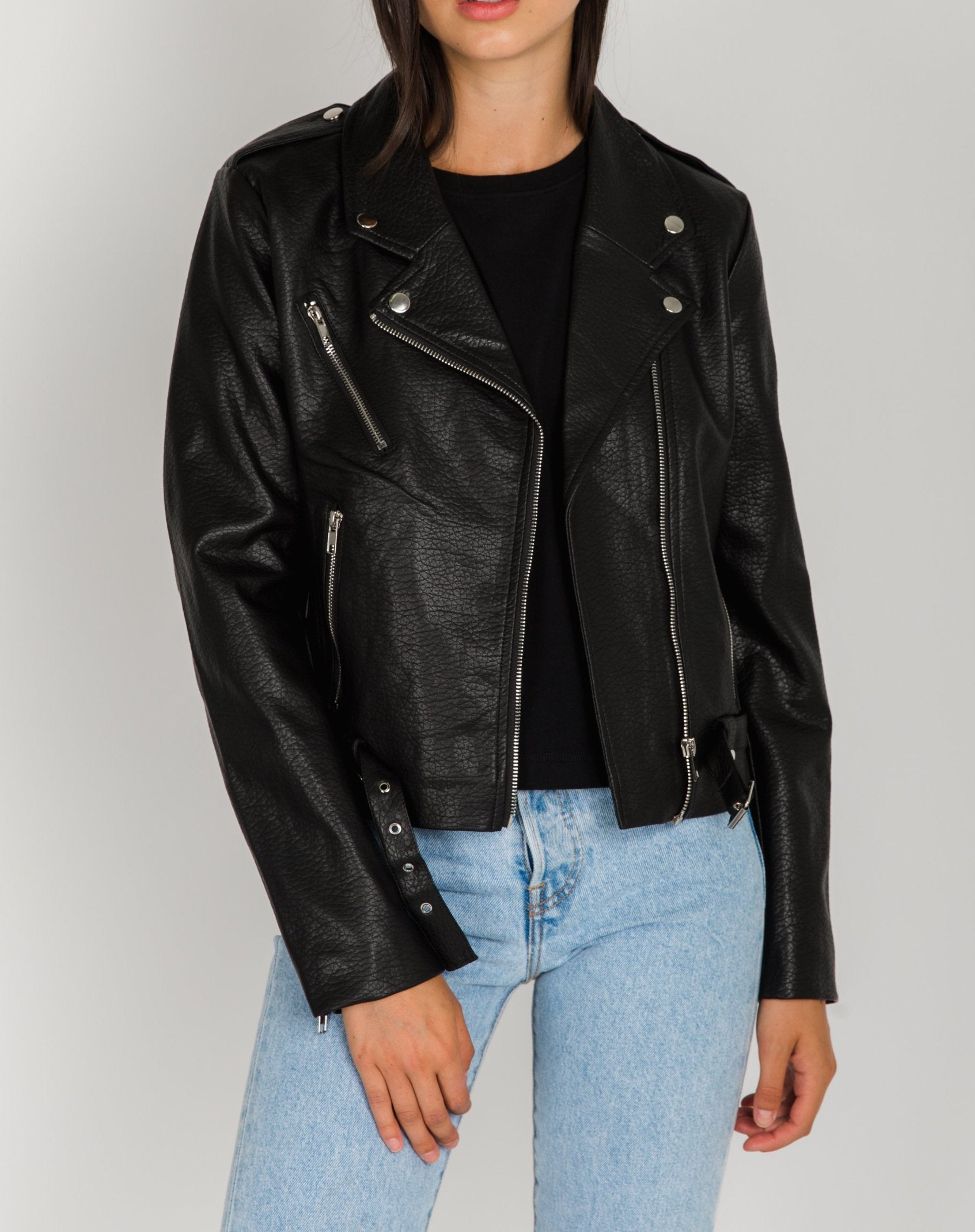 Photo 2 of the Florence vegan leather moto jacket in black by Brunette the Label.