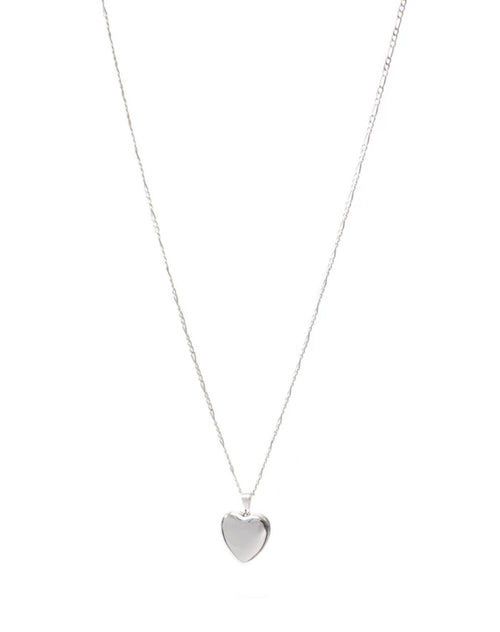 Image of the Heart Locket Figaro Chain in silver by Lisbeth.