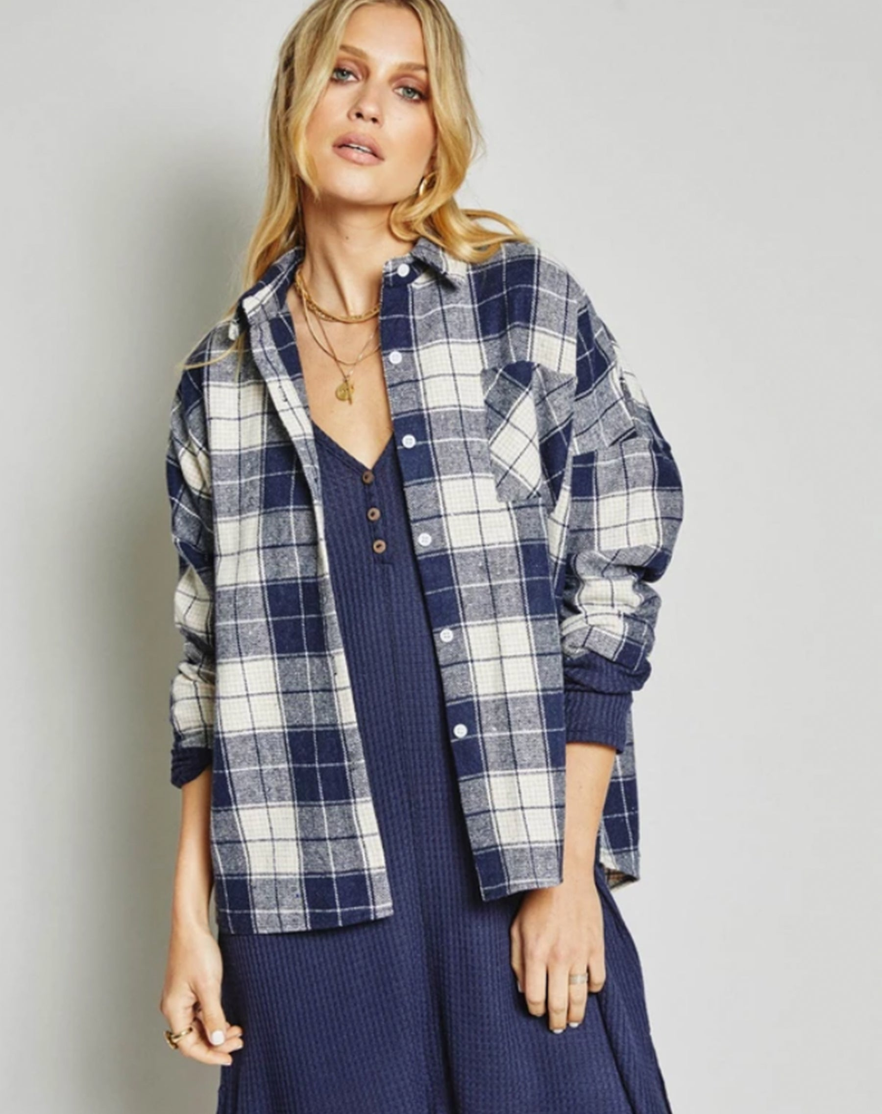 Photo of the Hitchhiker cardigan in plaid by Sage the Label.