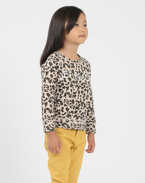 Photo of the side of the Jet Black Little Babes classic crew neck sweatshirt in leopard by Brunette the Label.
