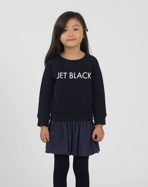 Photo of the Jet Black Little Babes classic crew neck sweatshirt in navy by Brunette the Label.